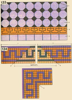 133. Floor facing by auxiliary tiles: 1 - an insert, 2 - an ordinary covering, 3 - a frieze, 4 - pristennyj a number - zadelka; 134. Formation of a corner of a frieze from frizovannyh cards carpet mozajki: 1 - frizovaja a card, 2 - a cut line, 3 - a line of connection of cards