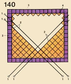 Facing of walls by tiles on a diagonal: 1 - probes, 2 - cords-prichalki. 3 - frizovyj a number, 4 - halves of tiles