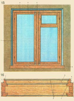 15. Warming of window apertures: 1 - a box; 2 groove between a box and a shutter; 3 - a shutter; 4 - a groove between two shutters on imposte; 5 - a window sill; 16. A frame with three glasses: 1 - brusok frames, 2 - glass, 3 - a loop, 4 - a lock, 5 - an additional (third) frame