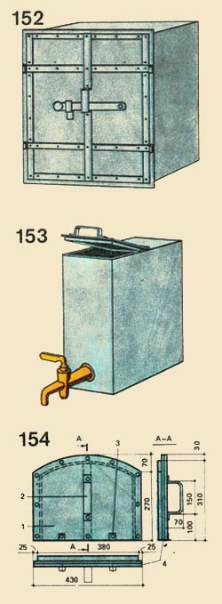 152. The Oven (oven); 153. A water-heating box; 154. An oven barrier (zaslonka); 1 - a cloth, 2 - the handle, 3 - a pad from a strip steel, 4 - asbestos sheet