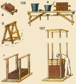 156. Adaptations: and - a framework for resocks and brick storages; - kozelok, in - a special bench for storage of materials in an operating time, g - directing racks; 157. A furnace laying in a mobile timbering