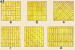 Packing of a piece parquet by various drawing: and, - a direct square, in - the developed square, g - straight lines, d - carpet drawing