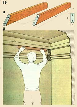 Cutting of corners by hand by means of a ruler: and - a ruler; - corner cutting; 1 - nails
